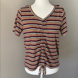 Sunday Stevens Striped Ribbed Tee Shirt With Tie